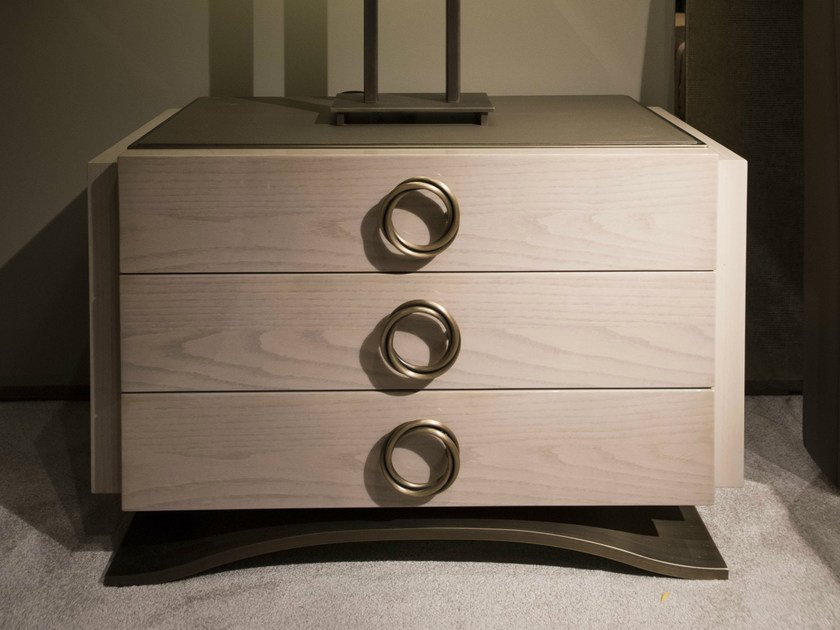 Oak bedside table with drawers HAUSSMANN | Bedside table by HUGUES CHEVALIER