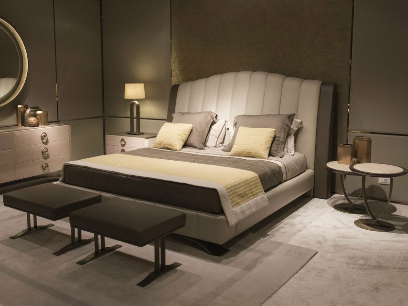 Leather double bed with high headboard HAUSSMANN | Bed with high headboard by HUGUES CHEVALIER