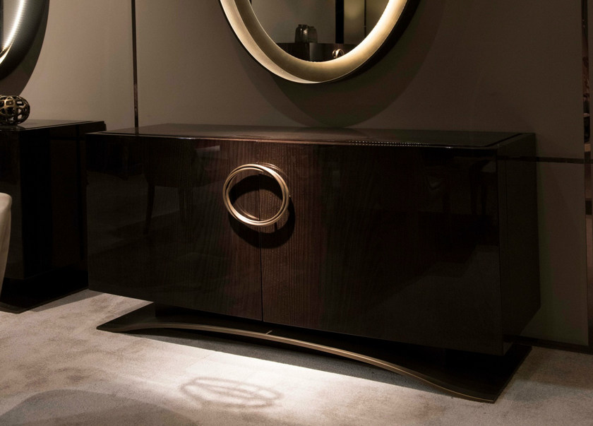 Lacquered oak sideboard with doors HAUSSMANN | Oak sideboard by HUGUES CHEVALIER