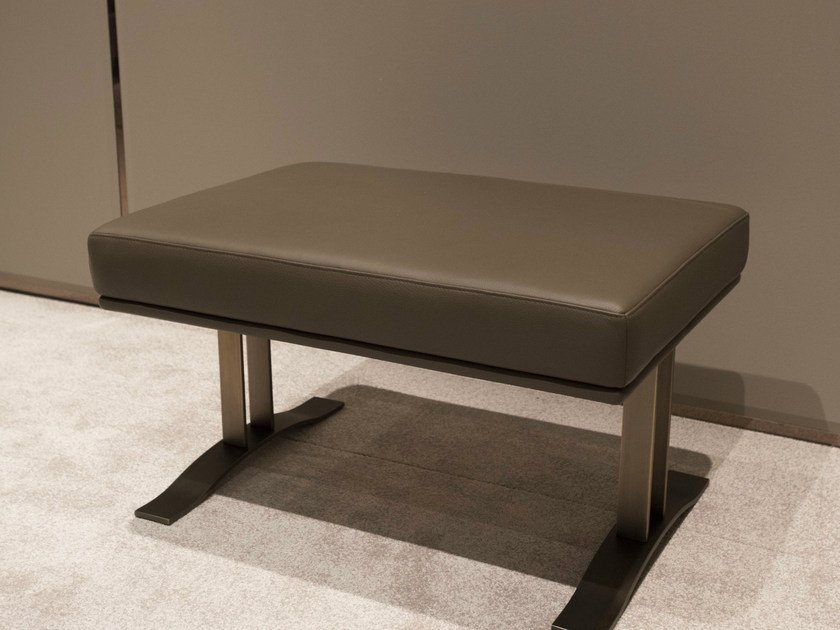 Leather bench HAUSSMANN | Bench by HUGUES CHEVALIER