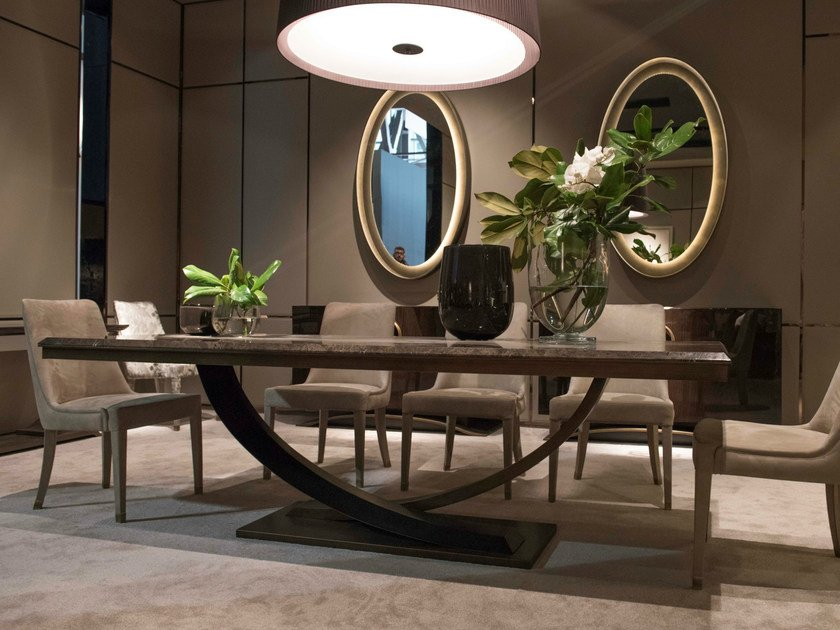 Lacquered rectangular metal dining table HAUSSMANN   Dining table by HUGUES CHEVALIER