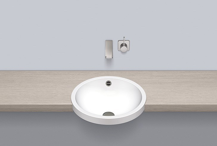 Semi-recessed basin from glazed steel HB.K450 by Alape