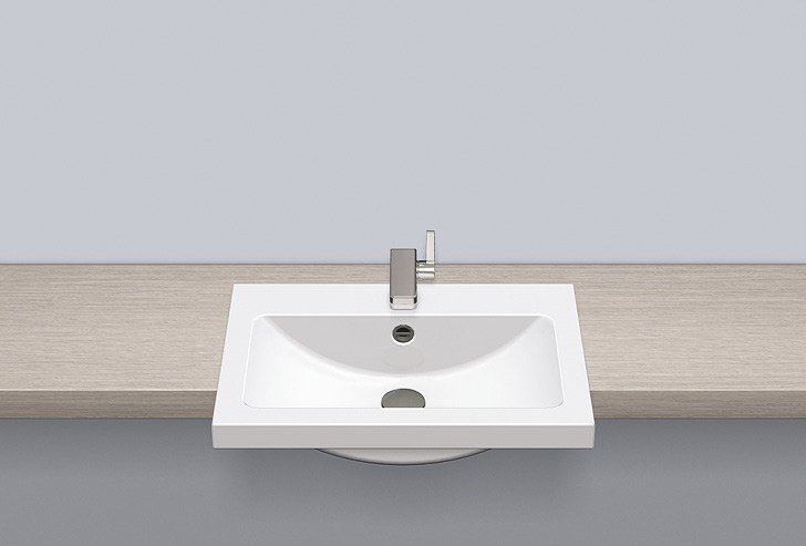 Semi-recessed basin from glazed steel HB.R585H by Alape