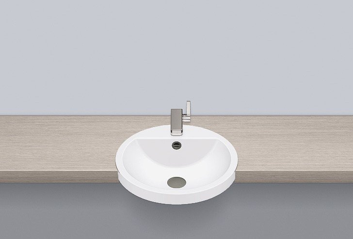 Semi-recessed basin from glazed steel HB.S450H by Alape