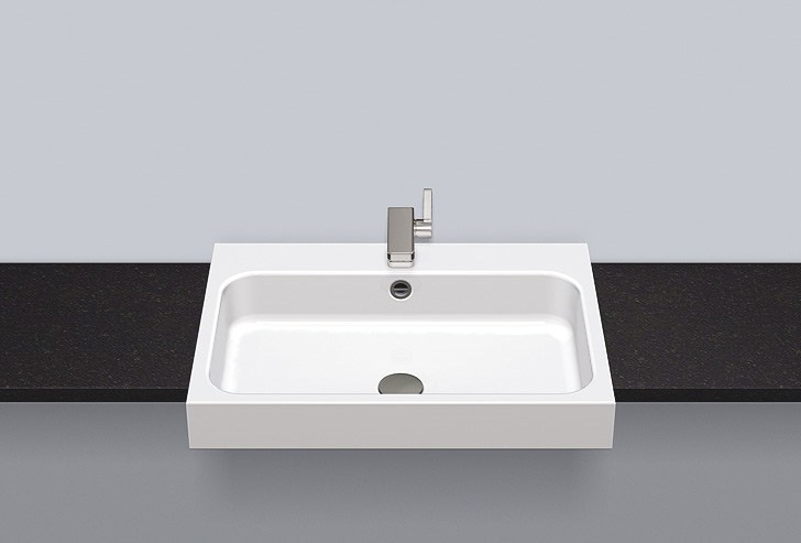 Semi-recessed basin from glazed steel HB.SR650H by Alape