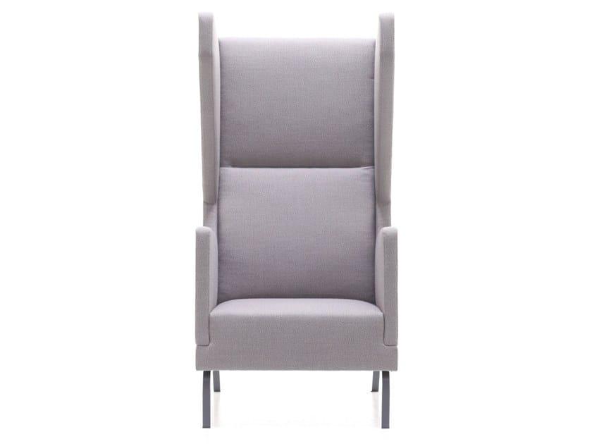 Wing high-back fabric armchair HEARD-A by Ferrante