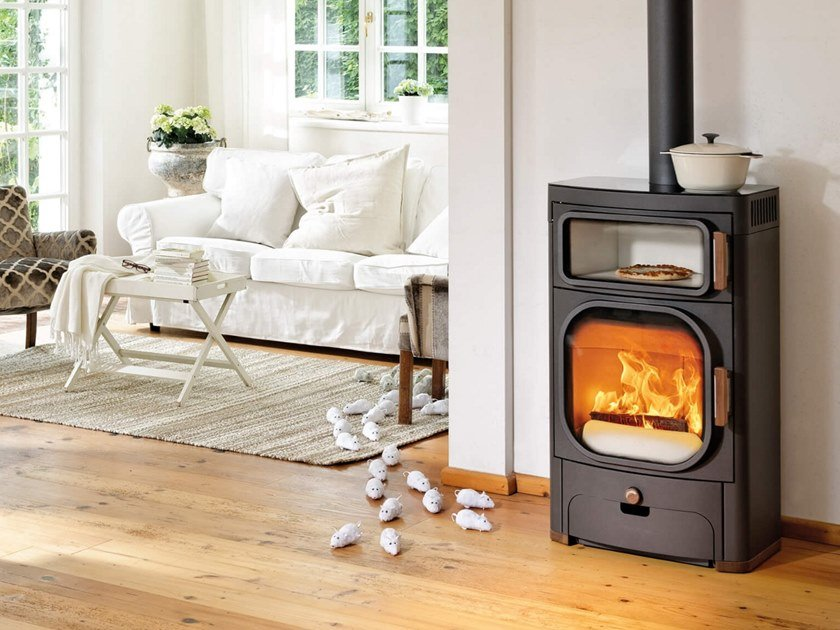 Wood-burning stove with Oven HEIDI BACK by Austroflamm