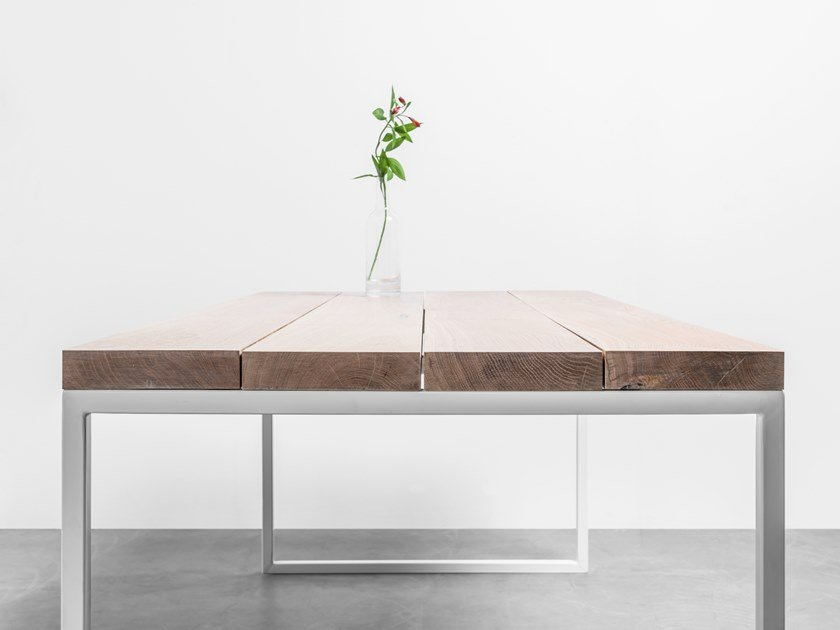 Rectangular dining table made of solid oak wood and steel HELEN by Hoom