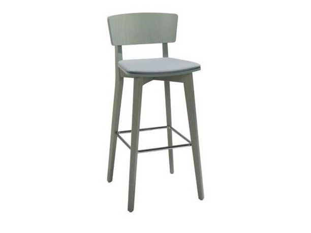 High beech stool with integrated cushion HELLEN STOOL SG06 by New Life