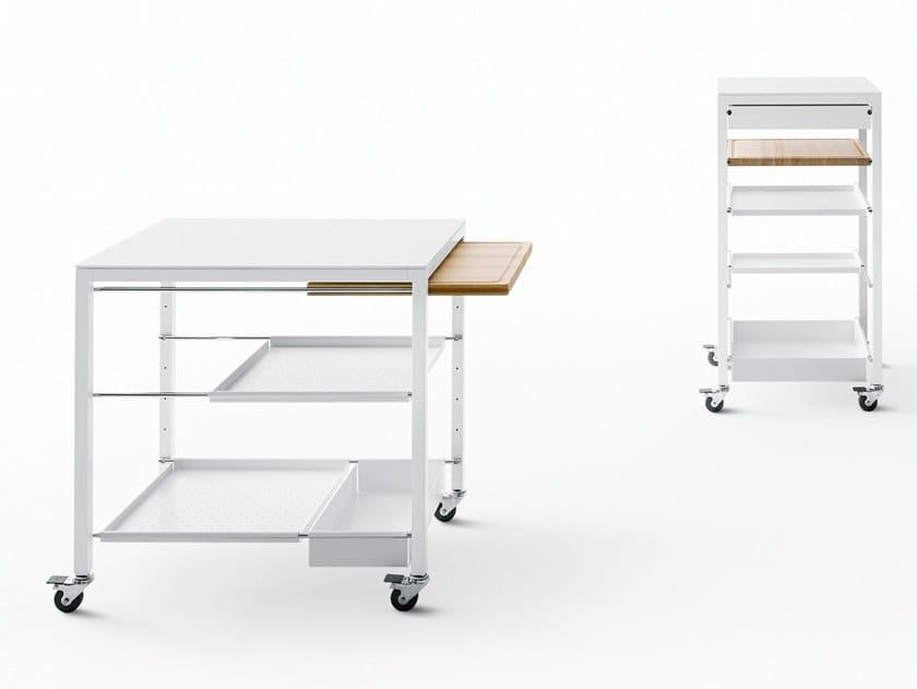 Steel food trolley with drawers HELSINKI | Food trolley by Desalto