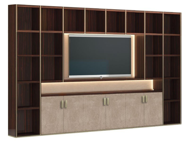 Open wooden bookcase with TV stand HERA by Capital Collection