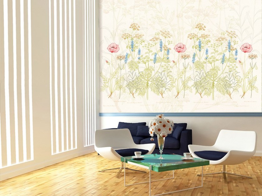 Nonwoven wallpaper with floral pattern HERBARIUM by MyCollection.it