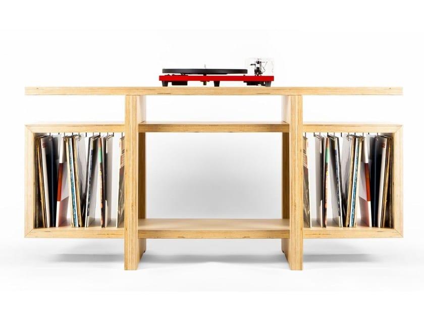 Multi-layer wood vinil rack HEROES by MALHERBE EDITION