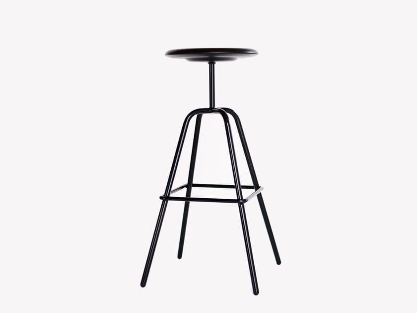 High steel and wood stool HERRENBERGER | High stool by Atelier Haußmann
