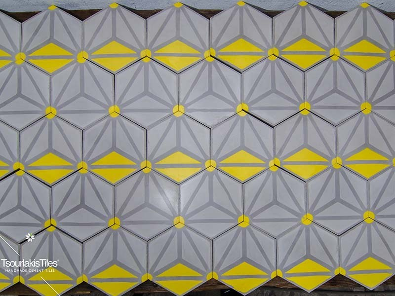 Indoor/outdoor cement wall/floor tiles HEXAGON 102 by TsourlakisTiles
