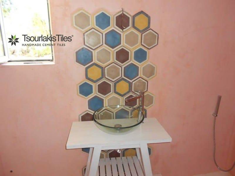 Indoor/outdoor cement wall/floor tiles HEXAGON 103 by TsourlakisTiles