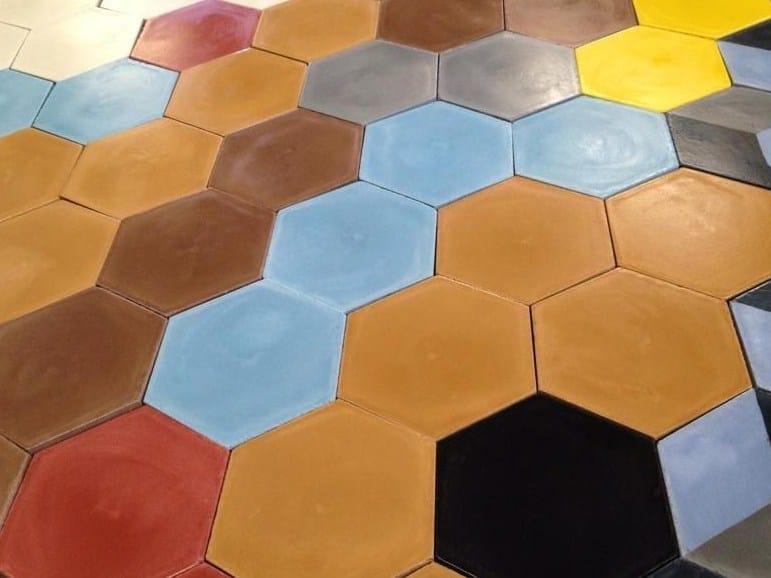 Indoor/outdoor cement wall/floor tiles HEXAGON SOLID COLOR by TsourlakisTiles