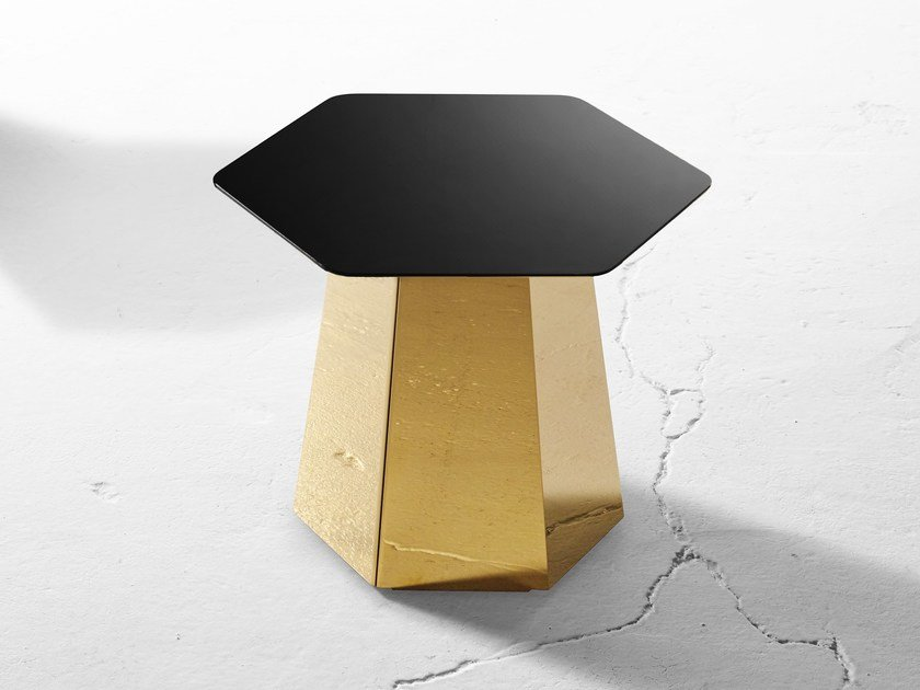 Stainless steel garden side table HEXT   Stainless steel coffee table by Derlot Editions