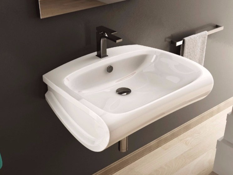 Rectangular ceramic washbasin HI-LINE | Wall-mounted washbasin by Hidra Ceramica
