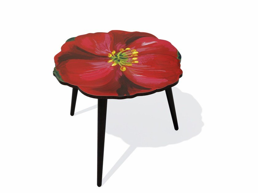 Beech wood and HPL side table HIBISCUS M by Bazartherapy