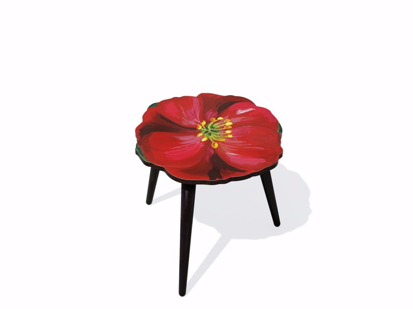 Beech wood and HPL side table HIBISCUS S by Bazartherapy