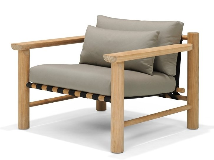 Upholstered teak easy chair with armrests HIDDE   Easy chair by Piet Boon