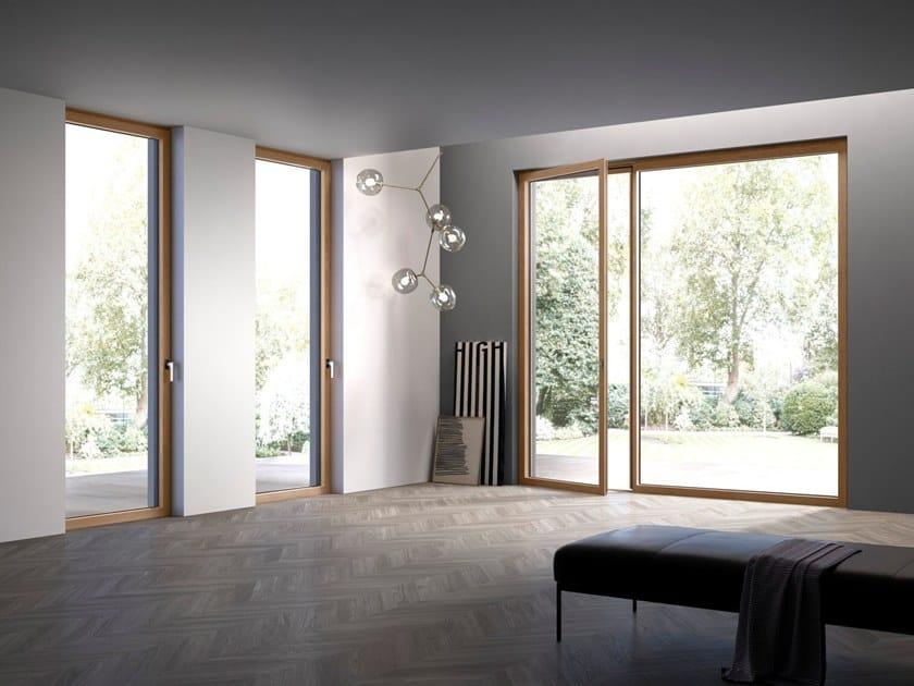 Porta finestra a taglio termico con anta a scomparsa in legno hidden wood by de carlo - Porta finestra legno ...