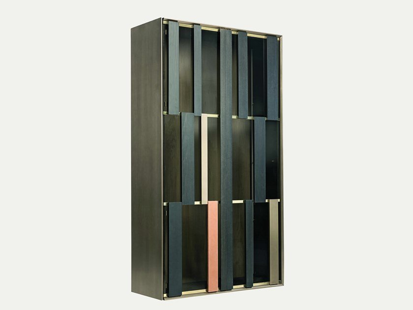 Wall-mounted display cabinet with integrated lighting HIDE by Shake
