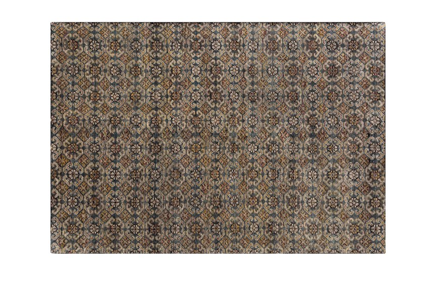 Patterned handmade rectangular wool rug HIDRAULIC by GAN
