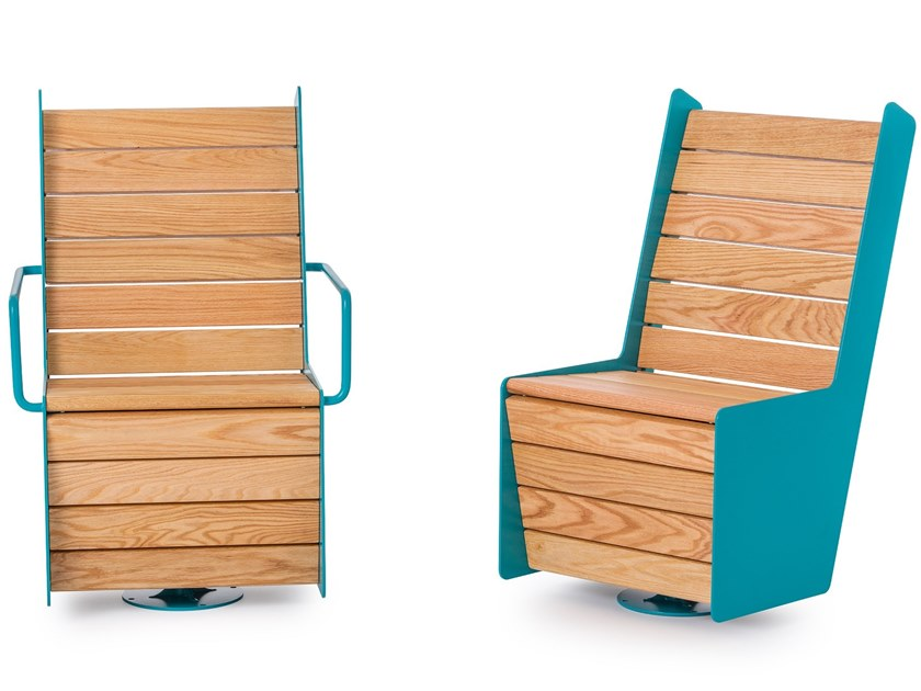 Lacquered steel outdoor chair HIGH SWIVEL CHAIR by Nola Industrier