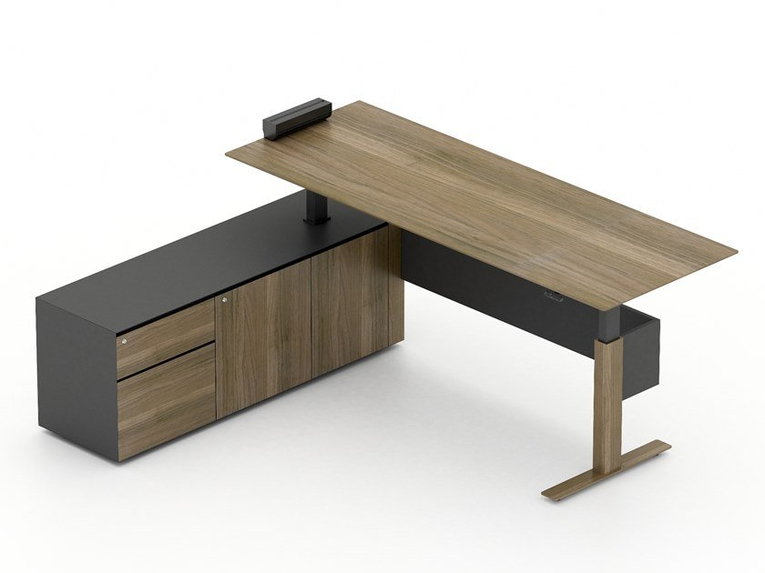 L-shaped executive desk with shelves HIGH by Tuna Ofis