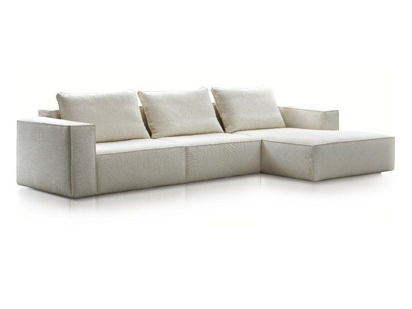 Fabric sofa with chaise longue HILLS by Papadatos