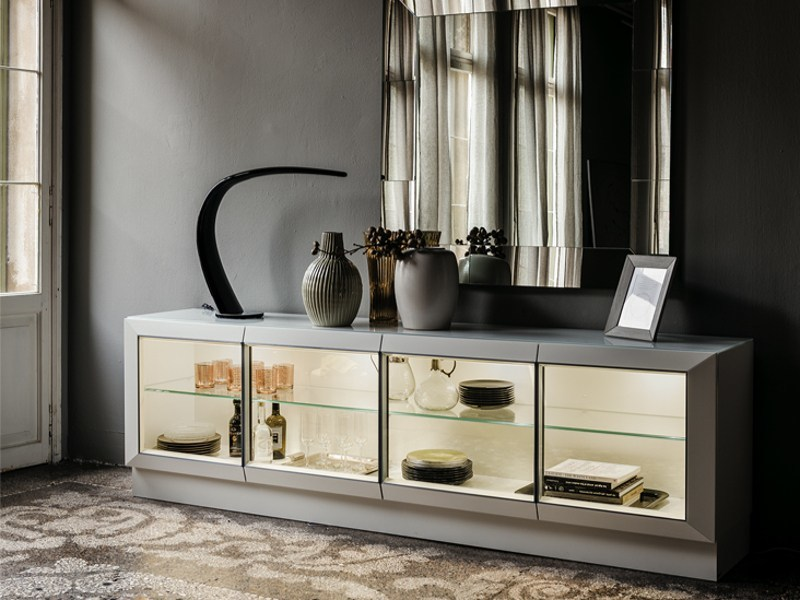 Lacquered sideboard with doors with integrated lighting HILTON by Cattelan Italia