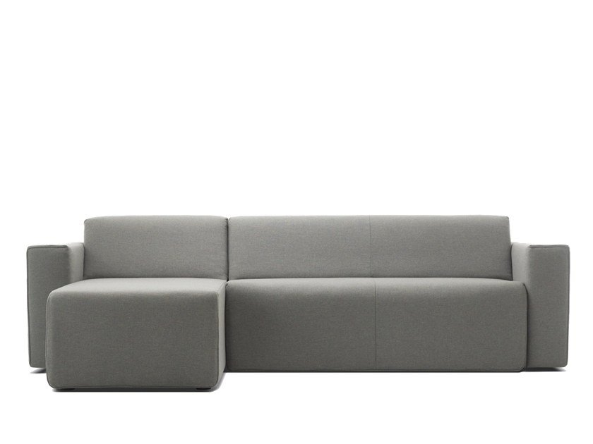 Fabric sofa bed with chaise longue HIPPO | Sofa bed with chaise longue by Extraform