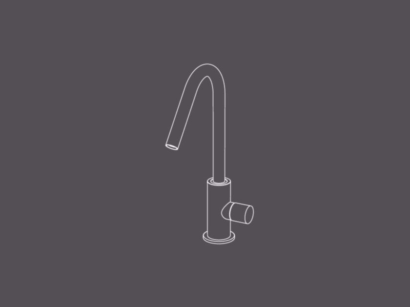 Countertop single handle washbasin mixer without waste HIR1 | Washbasin mixer by Radomonte