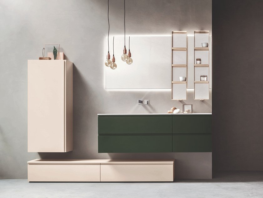 Single vanity unit with cabinets with drawers HITO | Vanity unit by ARBLU