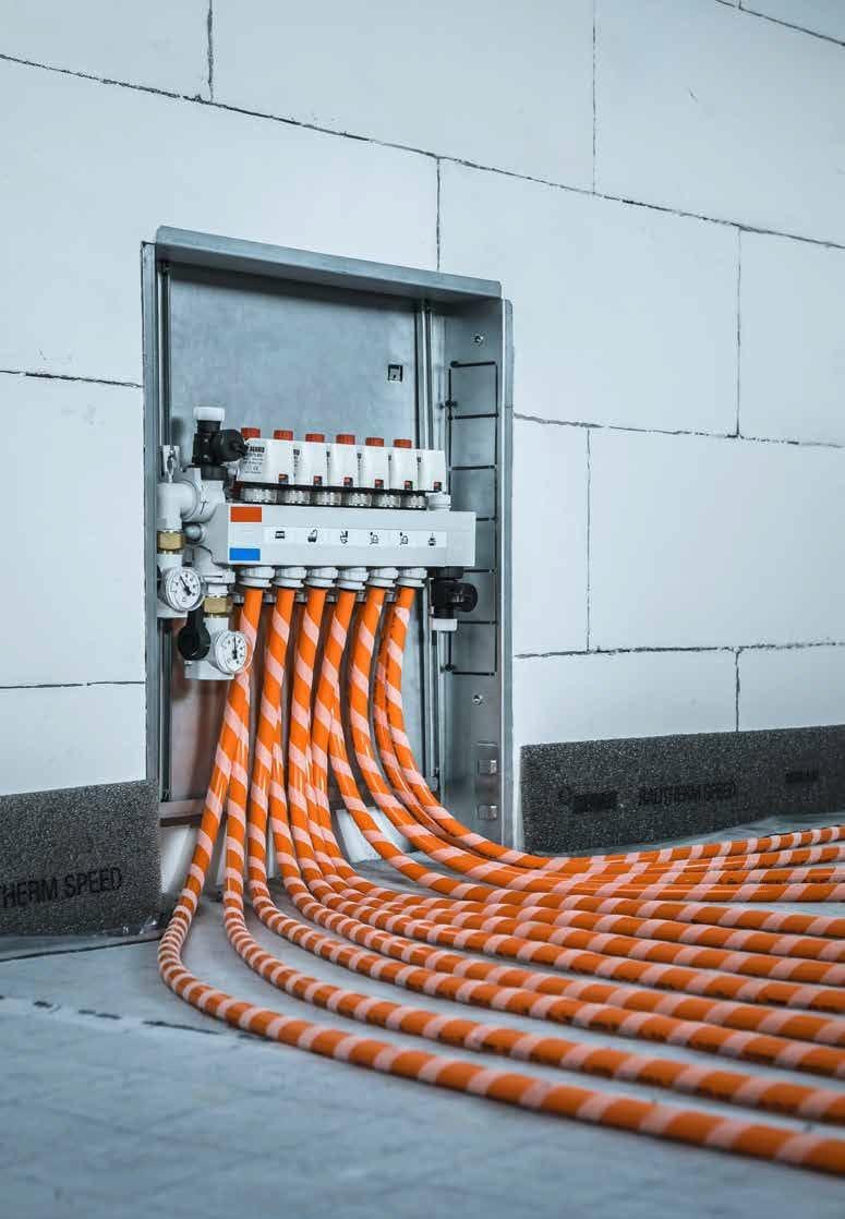 ACQUA di riscaldamento a pavimento Layout TUBO disegno CAD servizio design ANELLI COLLETTORI