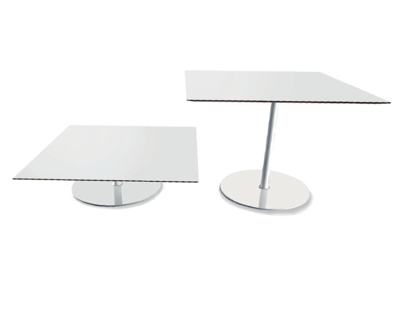 Square chrome plated steel coffee table HOLA by Casprini