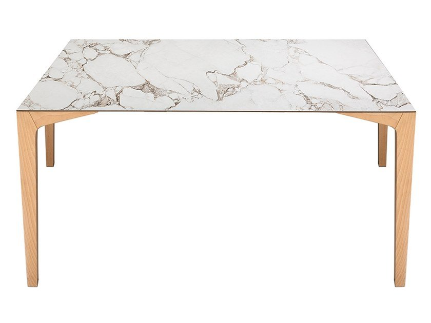 Wood and ceramic marble table HOLA by Vela Arredamenti