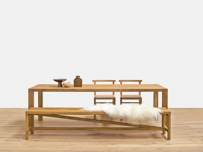 Contemporary style rectangular oak contract table HOLBORN by e15