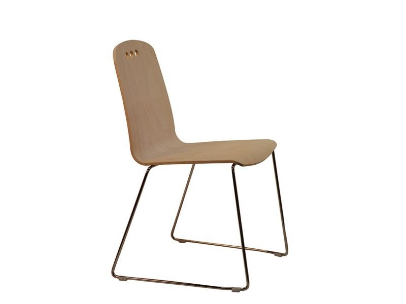 Sedia a slitta in legno HOLE-F by Vela Arredamenti