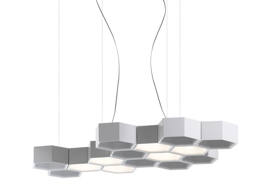 LED direct-indirect light pendant lamp HONEYCOMB by LUCEPLAN