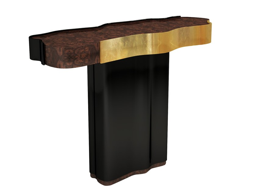 Lacquered wooden console table with drawers HORIZON | Console table by Malabar