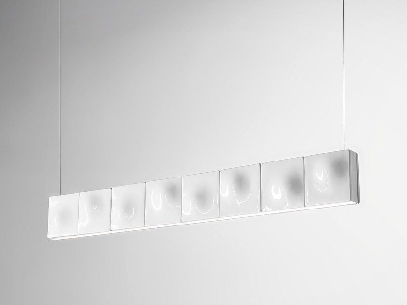 LED handmade thermo lacquered aluminium pendant lamp HORIZON by Exporlux