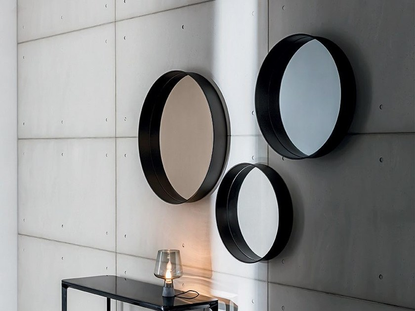 Round wall-mounted framed mirror HORIZON by Sovet italia