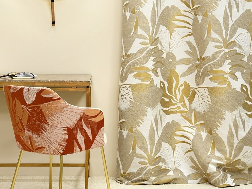 Jacquard fabric with floral pattern HORTUS by LELIEVRE