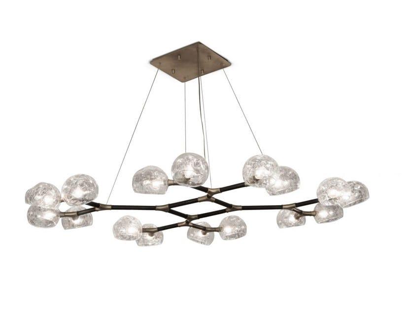 Glass pendant lamp HORUS II by BRABBU