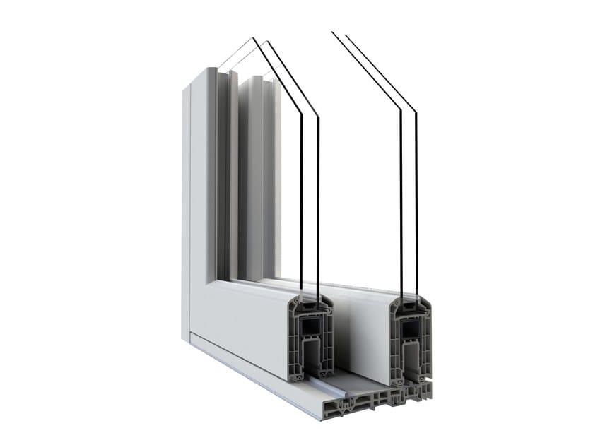 Porta finestra alzante scorrevole con doppio vetro complanare in pvc hst vision alphacan - Porta finestra doppio vetro ...