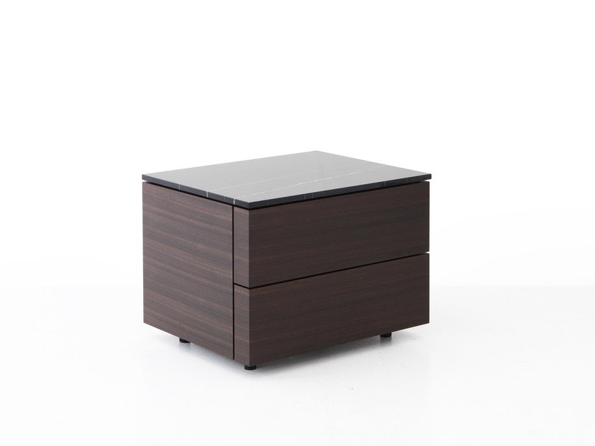 Lacquered wooden bedside table with drawers HUB | Bedside table by Porro