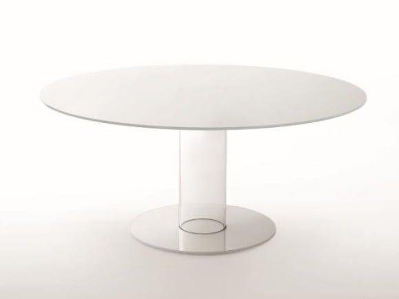 Round crystal table HUB | Table by Glas Italia